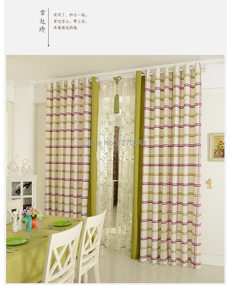 Width 1m high 2.7m Korean style green window curtains bedroom linen fabric drape china sale - Shaoxing HABA Textile Co.,Ltd store