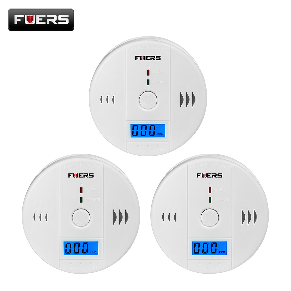Fuers 3pcs Gas Detector Sensor Carbon Monoxide Work Alone 85db Siren Sound Independent Carbon Monoxide Detectors CO Sensor