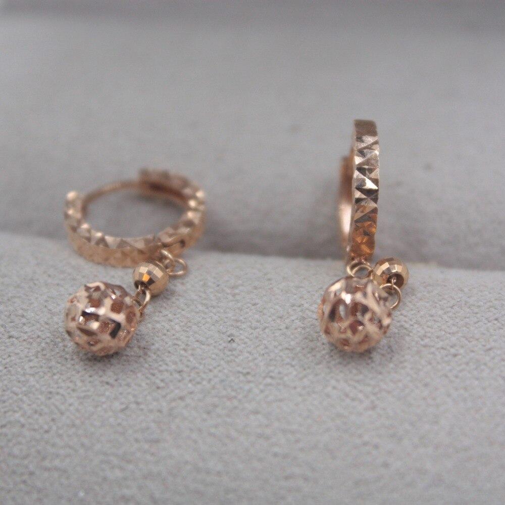 Pur 18 K or Rose sculpté petites boucles d'oreilles personnalisé balle cadeau mignon boucles d'oreilles 2-2.2g tous les jours bijoux creux - 2