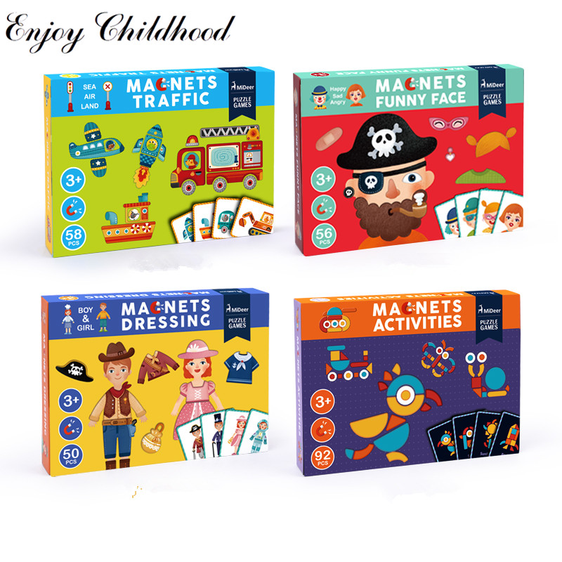 Children paper puzzle Magnetic Puzzles Game Set Fun Reusable Stickers