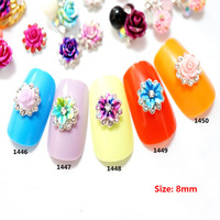 100pcs/bag Super Top Quality Metal Nail Crystal 3d Colorful Resin Dyed Flowers Nail Art 2018 Nail Jewelry New Arrive