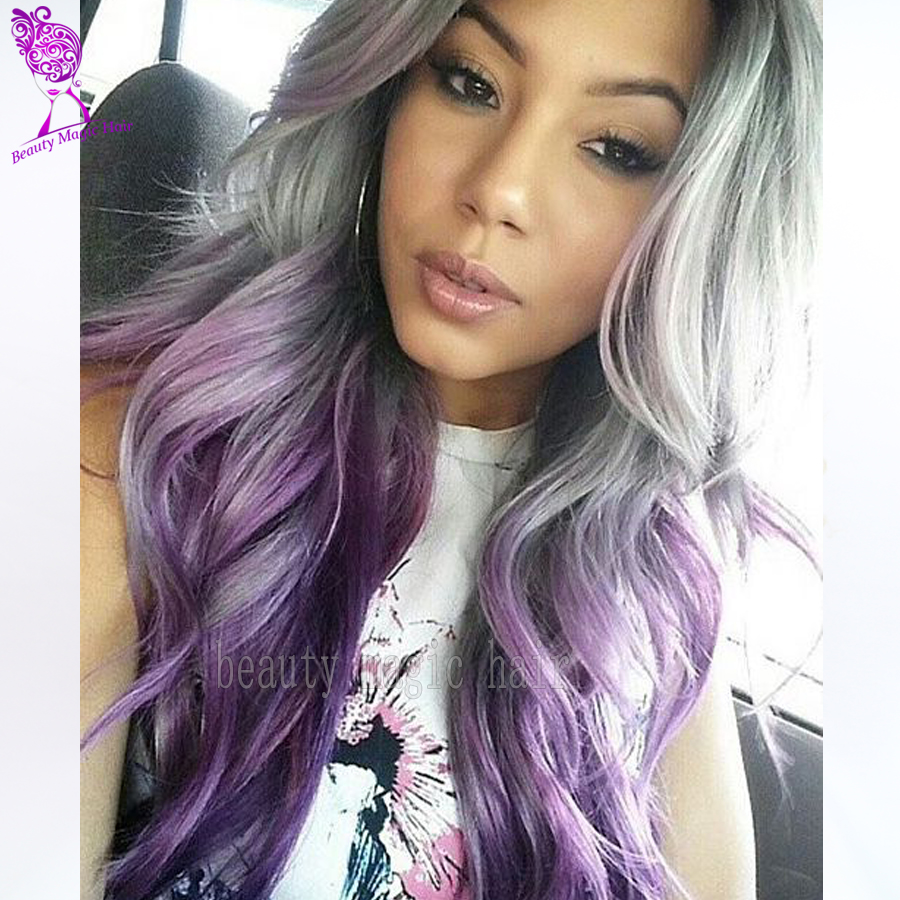 Purple Wigs Ombre Synthetic Lace Front Wig Two Tone Grey