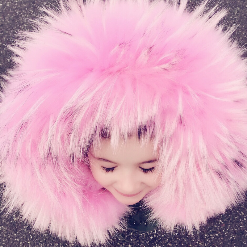2018 Winter Boys Girls Faux Fur Jackets Toddler Parkas Big Fur Collar Zipper Children Pink Overcoat Full Sleeve Filled Duck down 2018 turn down collar girls wool outerwear fluffy girl faux fur coat fur patchwork cool children overcoat big girls fur jackets