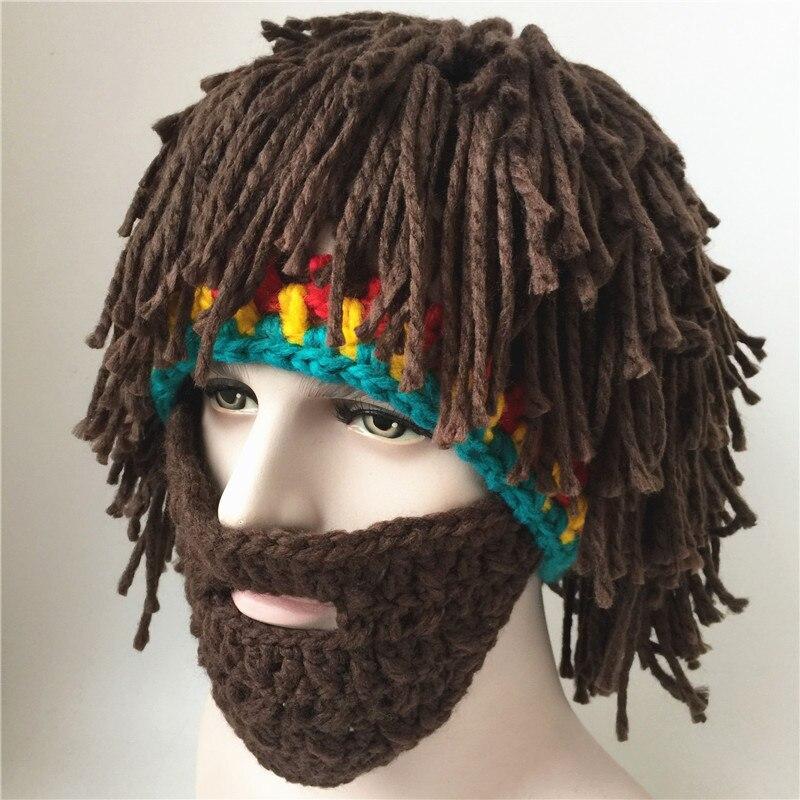 CN-RUBR Wig Beard Hat Mad Scientist Rasta Caveman Handmade Winter Knit Warm Men Women Cap Hot Sale Gift Party Mask Beanies 2016 men women jamaican rasta hat dreadlocks wig marley caribbean fancy dress prop unisex knitted beanie hat handmade reggae cap