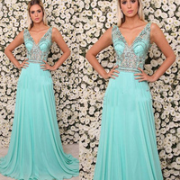 Blue Prom Dresses 2019 Beaded Sequins Pearls A Line Sheer Bodice Chiffon Evening Dresses Gowns