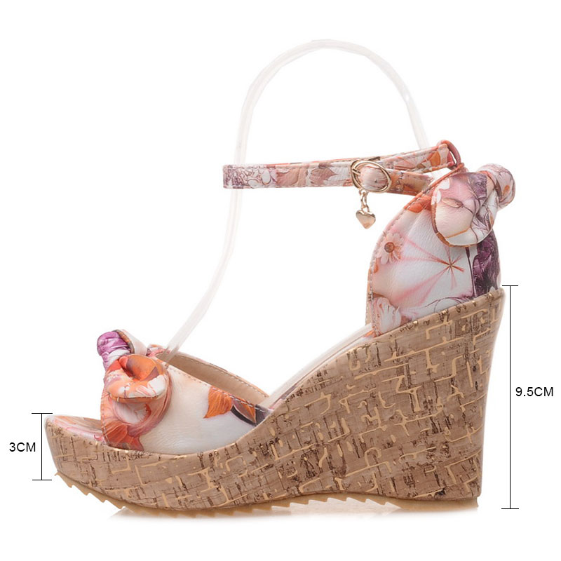 Fanyuan beautiful girls Wedge Sandals fancy Butterfly knot Print high heel Platform shoes women Beach Summer Ankle strap sandals in High Heels from Shoes