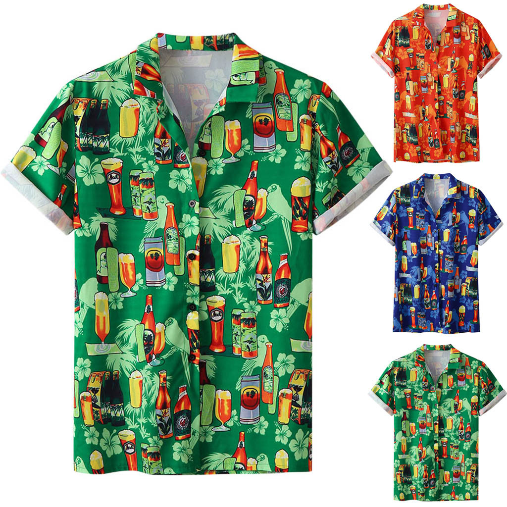 Stylish Men Beer Festival Printed Hot Style hawaiian Shirt With Short Sleeves M-3XL camisa masculina camisas hombre Dropshipping