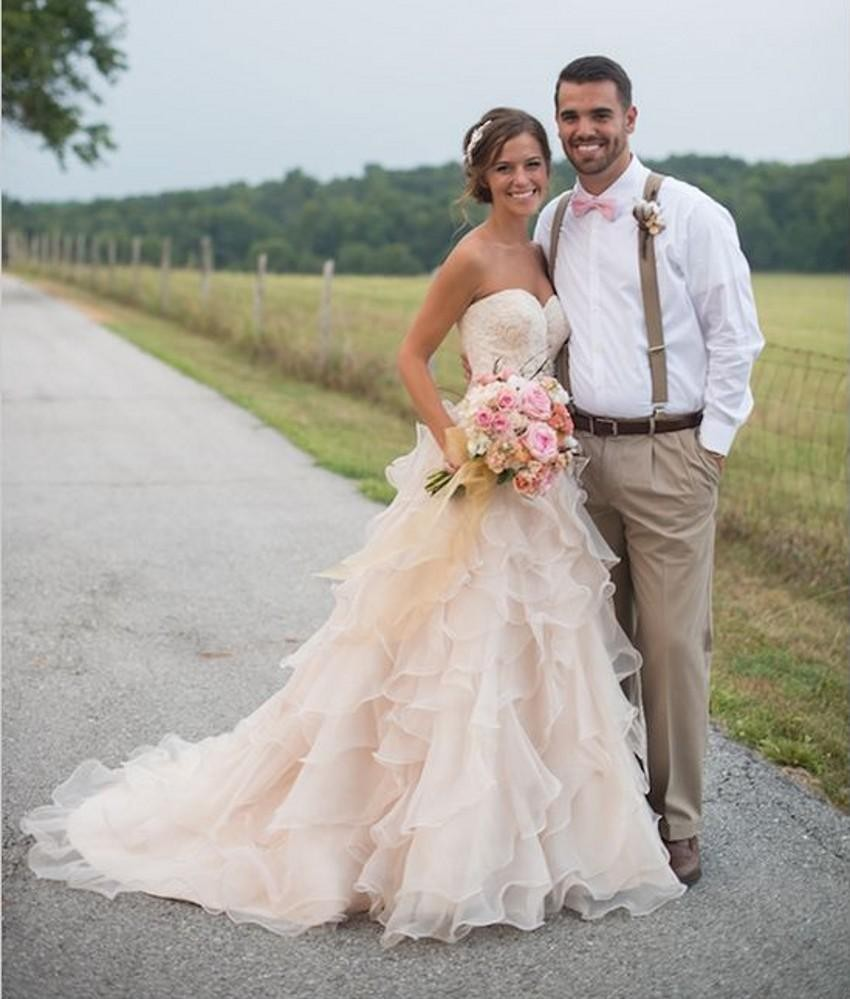 Blush Pink Country Wedding Dresses with Ruffles Sweetheart Lace ...