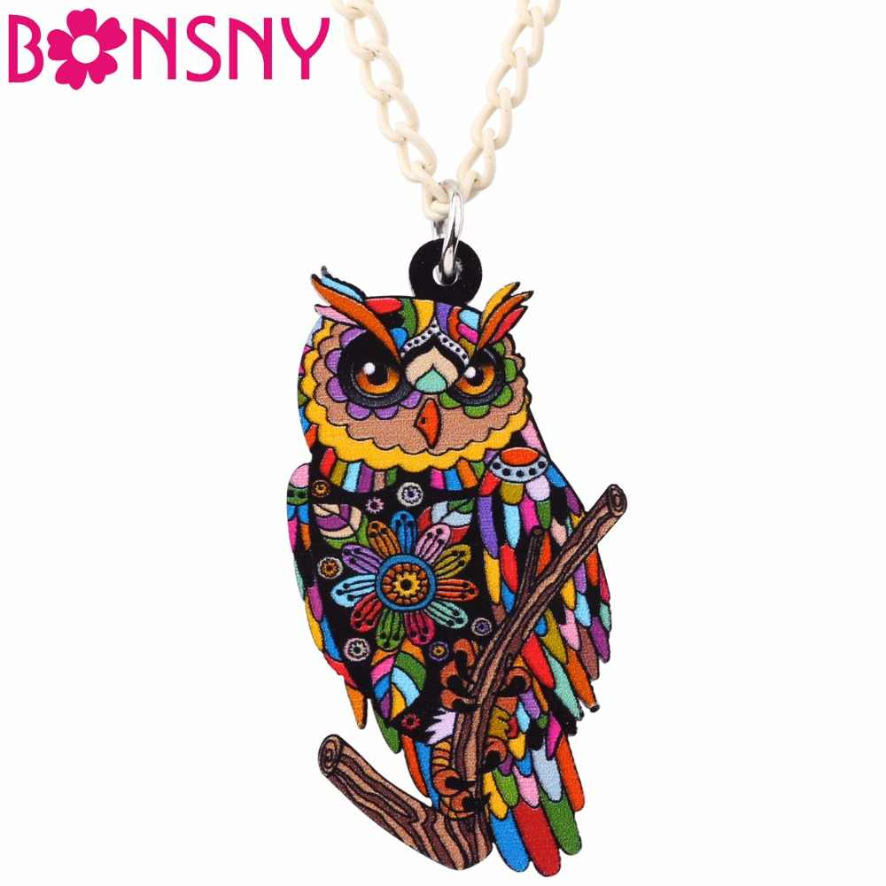 Bonsny Statement Maxi Owl Necklace Pendant Acrylic Pattern New Fashion Animal Jewelry For Women Charm Collar Choker Bijoux Gifts