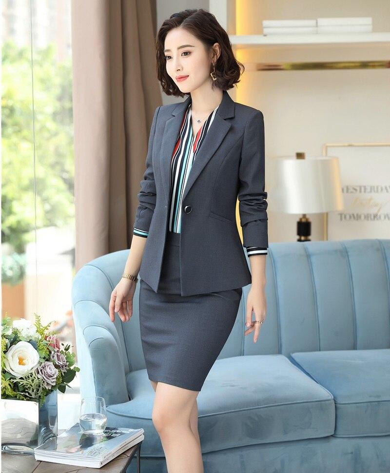 Manteau Pour Femmes Blazer Et grey Black navy Bureau Blue Costumes Avec Styles D'affaires Wear Work Vestes Conceptions Ensembles Les Uniformes Jupe Ol z0FqqTY