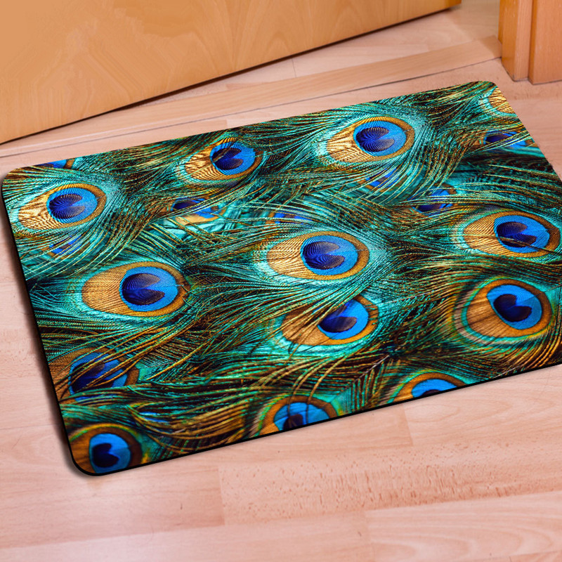 Exceptional Fashion 40*60cm 3D Doormats Peacock Feather Entrance Mat Rubber Rug Carpet  For Kitchen Bedroom