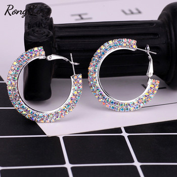 RongXing Vintage Red Blue White Rainbow Zircon Round Hoop Earrings For Women Silver Color Circle Earrings.jpg 350x350 - RongXing Vintage Red/Blue/White/Rainbow Zircon Round Hoop Earrings For Women Silver Color Circle Earrings Ladies Party Jewelry