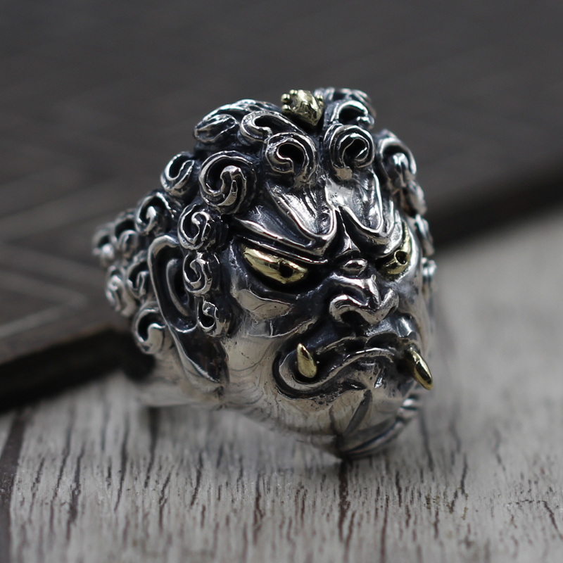 925 create a domineering personality opening ring silver vintage old Fudo 925 Sterling Silver Ring