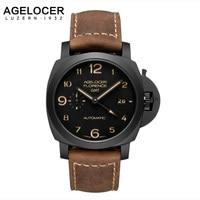 2017 Agelocer Mens Zegarki Szwajcarski mechanizm Luksusowe Zegarki Wojskowe Casual Watch 100% Skóra Mody Zegarki Na Rękę relojes hombre