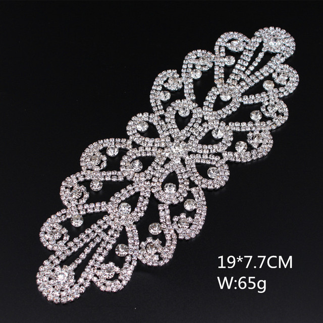 Flatback Sew on silver base Appliques Bridal crystal rhinestone applique  for wedding gown dresses rhinestone patches trim sash 3f56515f09cb