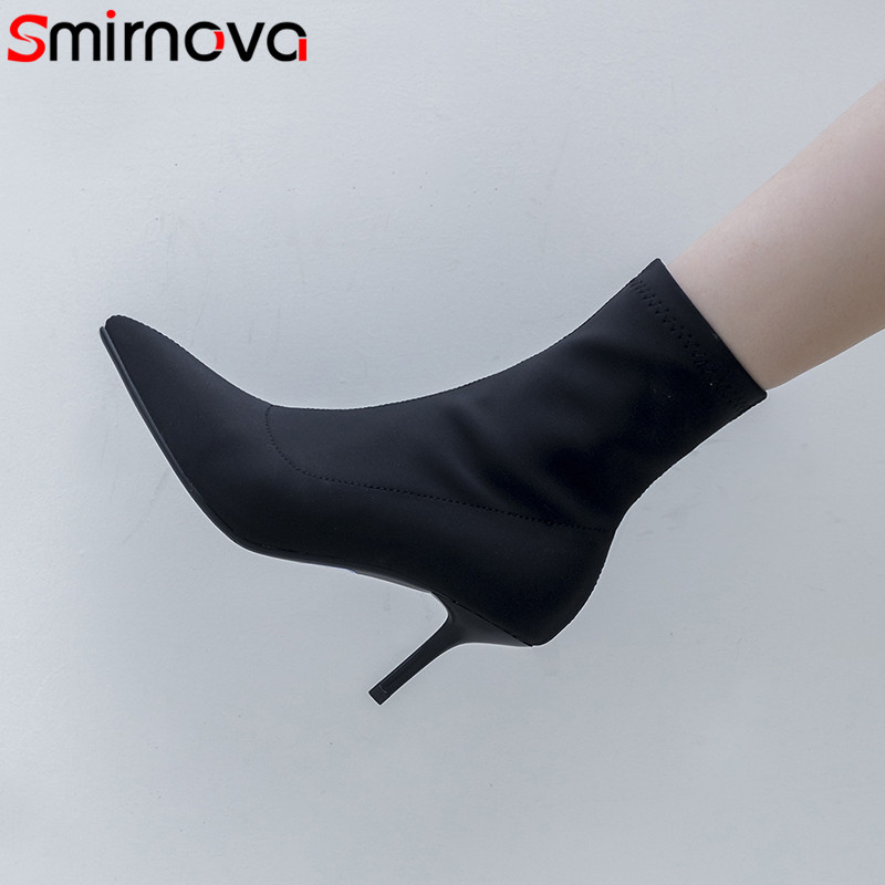 Smirnova 2018 fashion autumn shoes woman pointed toe thin high heels ankle boots women sexy prom ladies boots leather inside