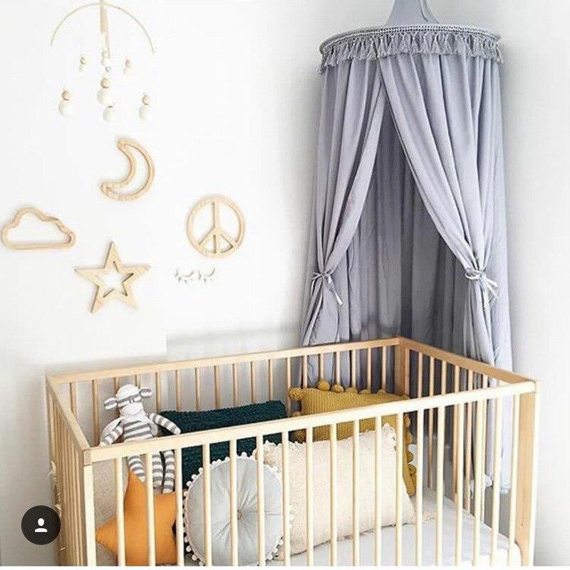 Nowy 240 cm baldachim do łóżka dzieci w domu łóżko kurtyny okrągły szopka siatki namiot dla dzieci bawełna wisiał kopuła łóżko dla dziecka moskitiera fotografia rekwizyty w Moskitiera od Dom i ogród na  Grupa 1