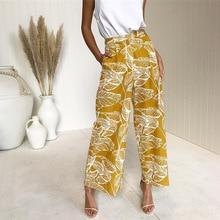 high waist pants print wide leg spring girls casual elastic waist clothing trends bohemian pants letter print wide leg pants
