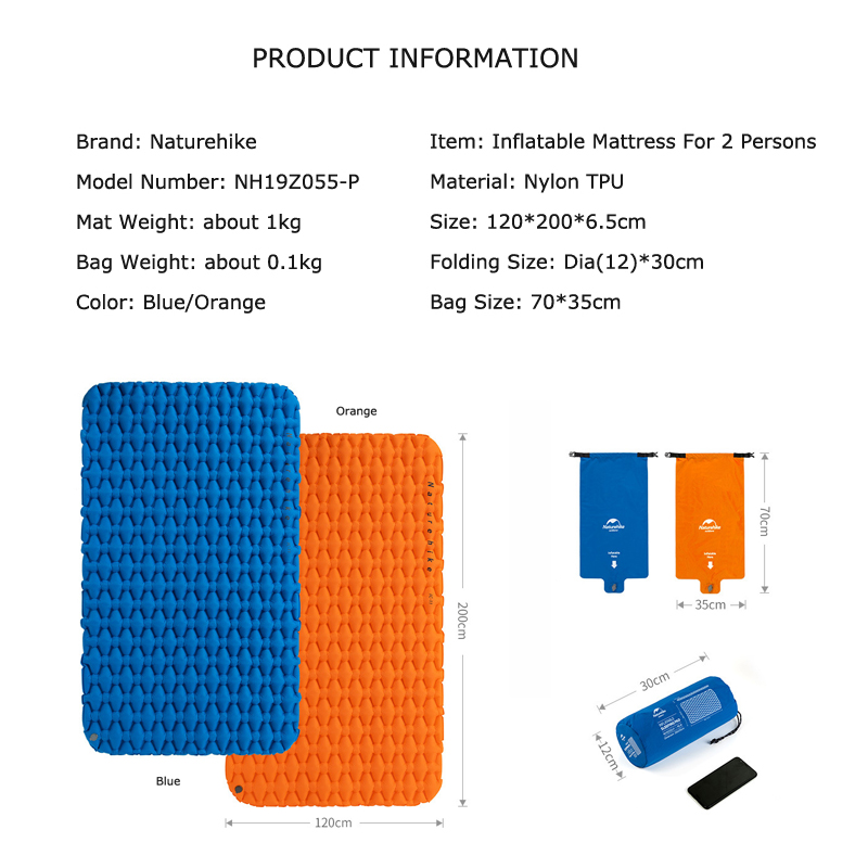 Naturehike Outdoor Camping Inflatable Cushion Moisture proof Sleeping Bag Mattress Mat Pad With Inflatable Bag For 1 2 Persons-in Camping Mat from Sports & Entertainment    2