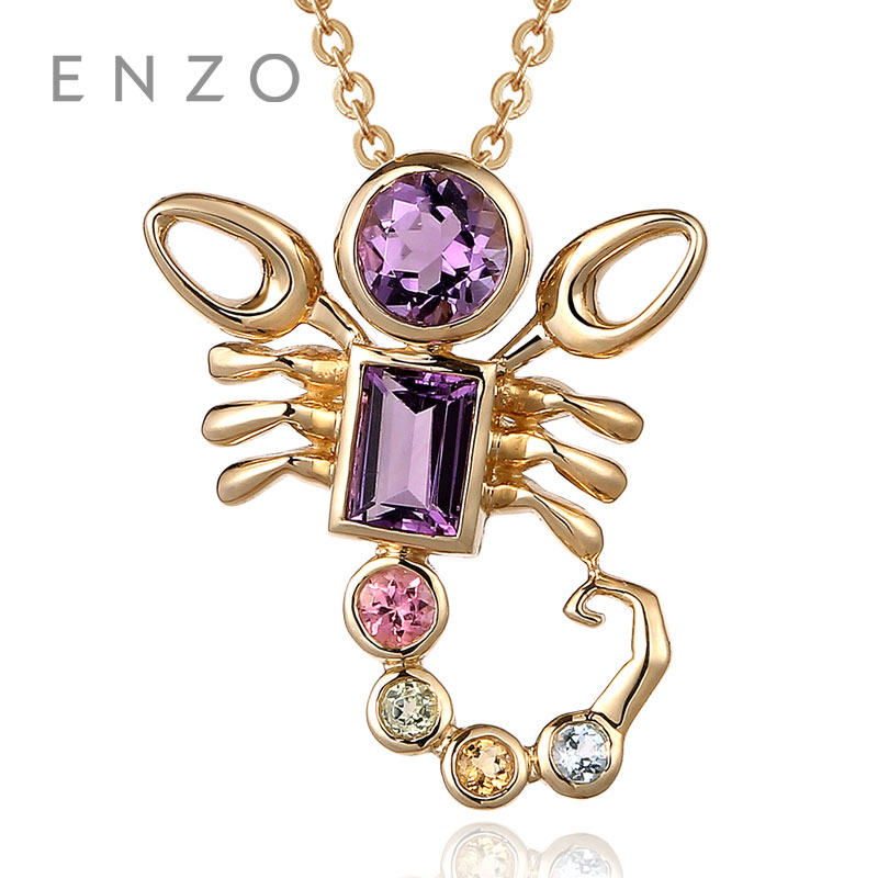 ENZO 12 Zodiac Necklace Pendant Natural Colourful Crystal With 9K Gold Fashionable colored gemstones Scorpio fashionable foot style gold plated crystal inlaid necklace golden