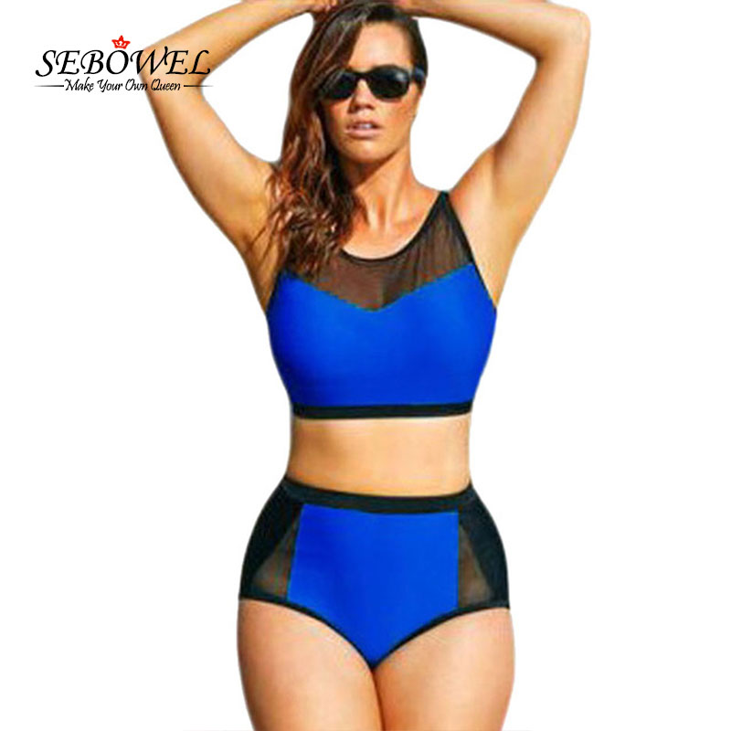 ffaee6018779e SEBOWEL 2017 Sexy Plus size Color Block High Waist Swimsuit Women High Neck  Swimwear Mesh Bikini set Female Bathing suit 4XL 5XL