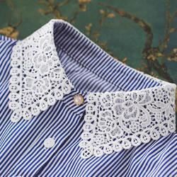 Съемная подделка, тяжелая черная перламутровая жилетка, Женская накладной воротник от рубашки, Цветочный галстук, Ажурные кружевные цветы