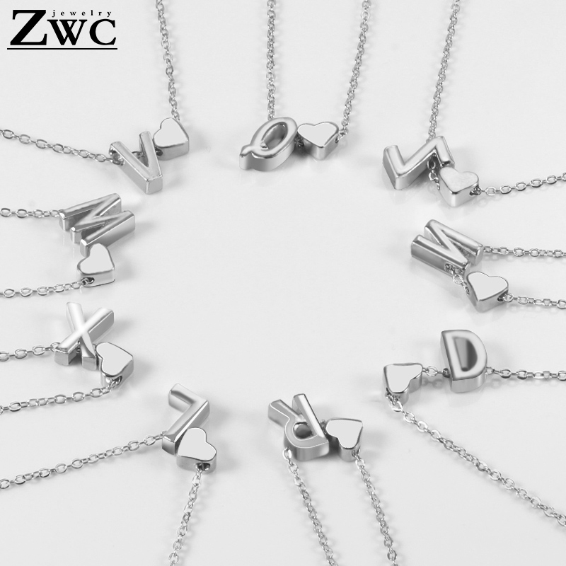 ZWC Vintage Heart Pendant Silver Necklace Wedding Party Charm Simple Letter Metal Necklaces Jewelry Gift
