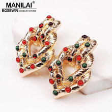 MANILAI Trendy Metal Stud Earring For Women ZA Jewelry Charm Resin Bead Statement Earring Wedding Accessories(China)