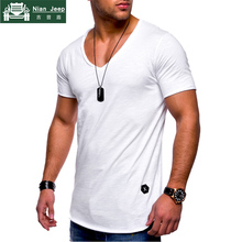 New Summer T Shirt Men 2018 Solid Casual V-Neck Fashion Hip Hop Tops T