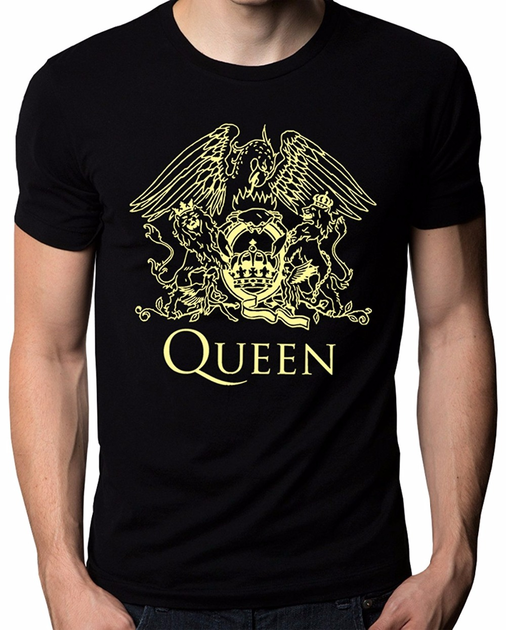 New Design T Shirt Print O-Neck Men Queen Band Rock Music Logo Mens T-Shirt 100% Cotton  ...