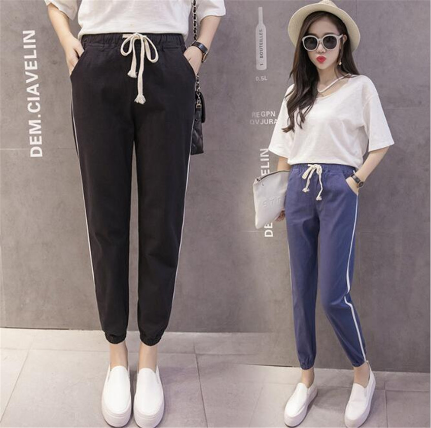 MLCRIYG Korean version cotton and linen Haren lacing loose waist pants