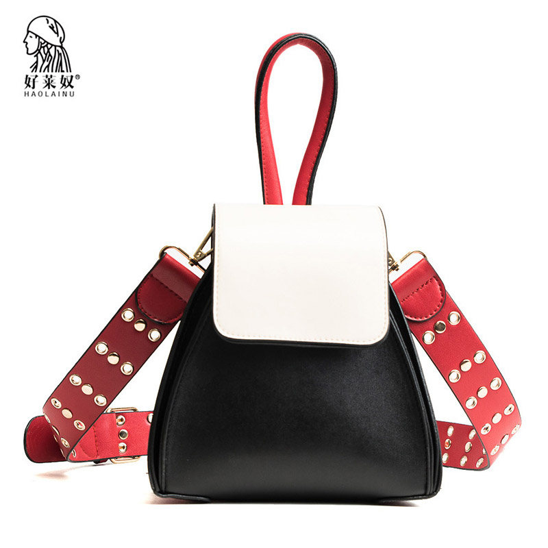 Haolainu Fashion Women Leather Handbag Casual Panelled Female Shoulder Bags High Quality Wide Rivet Strap Ladies Messenger Bags