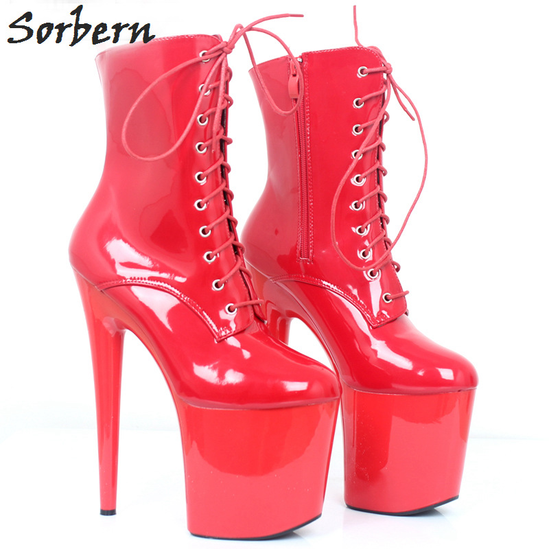 Sorbern Sexy Red Boots High Heels 20Cm Womens Size 13 Heels Ankle Boots Patent Women Punk Shoes Mid Calf Boots For Women sexy patent leather thin heels women knee high boots big size ladies platform high heels pole dancing boots women mid calf boots
