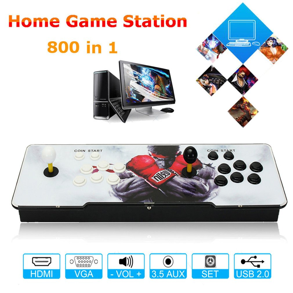 800 Games Home Multiplayer Arcade Game Console Kit Set Double Joystick HDMI VGA Interface Console With Pause Function800 Games Home Multiplayer Arcade Game Console Kit Set Double Joystick HDMI VGA Interface Console With Pause Function