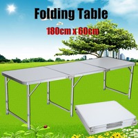 Adjustable Folding Table Camping Banquet Outdoor Picnic Party Garden Kitchen Dining Camp Tables 4FT Aluminium
