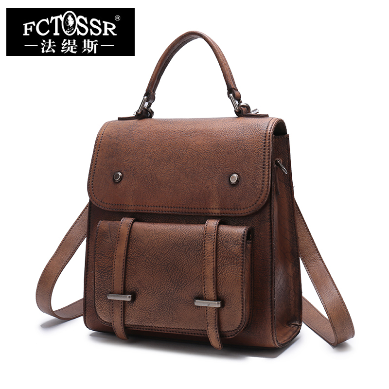 Women Backpack 2018 Latest School Summer Bag Handmade Genuine Leather Female Satchel Back Pack Bags Soft Handle Men Backpack
