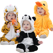 Spring Autumn Baby Clothes Flannel Baby Boy Clothes Cartoon Animal Jumpsuit Baby Girl Rompers Baby Clothing