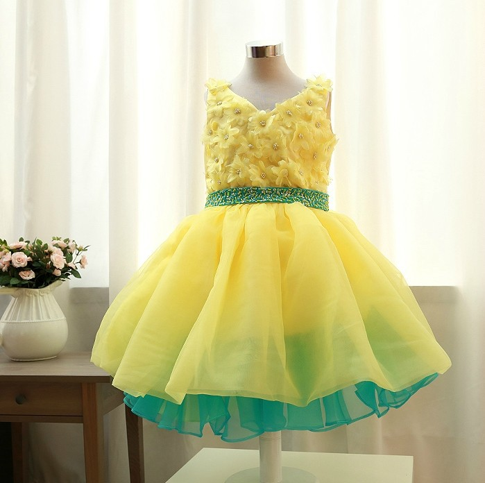 ФОТО Flower Girls Dresses Children Summer Princess Dress Kids Clothing Stage Performance Party Girls Dress