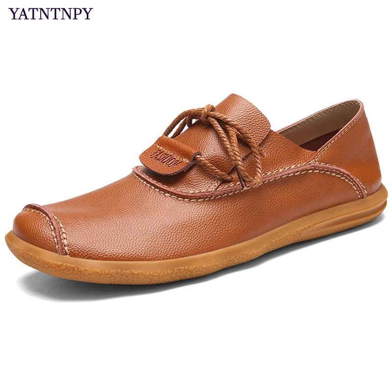 YATNTNPY Brand Men Shoes High quality Genuine Split Leather Shoes Man Sneaker Stylish Manual spadrilles Casual flat Moccasins hot sale mens italian style flat shoes genuine leather handmade men casual flats top quality oxford shoes men leather shoes