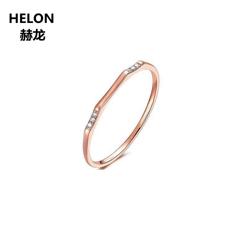 Solid 14k Rose Gold Natural Diamonds Women Engagement Ring Wedding Band Fine Jewelry solid 14k rose gold 100