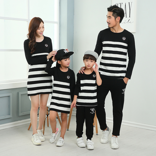 c4bcf93bb62 Striped Autumn Sweatshirt Daddy Boy Dresses Mother Daughter Family Matching  Clothing Family Set Women Striped Fall