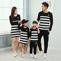 Vestidos de rayas Otoño Sudadera Papá Boy Ropa Juego de La Hija de la Familia Conjunto de La Familia de Rayas Mujeres Otoño Vestido YY13