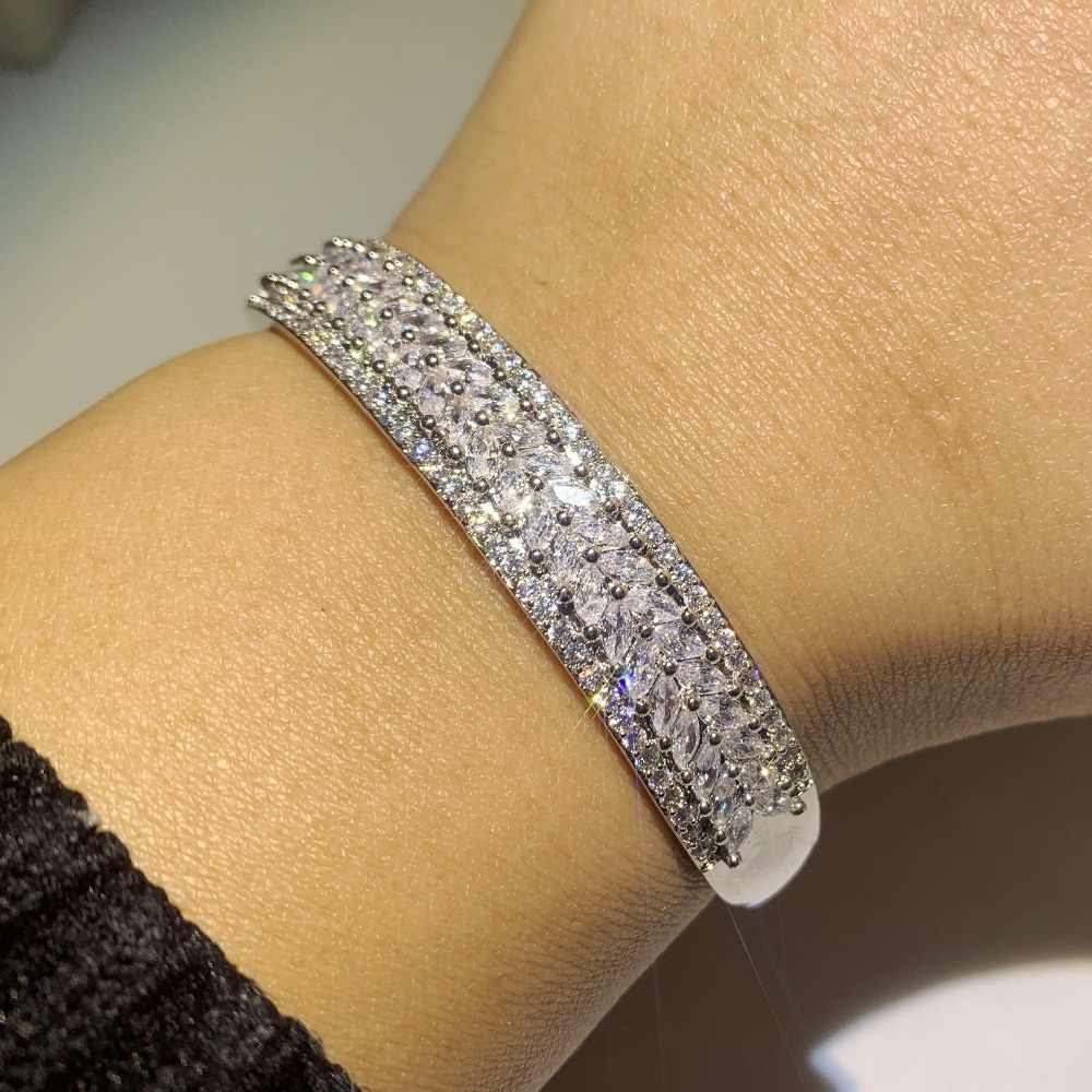 New Arrival Luxury Jewelry Handmade 925 Sterling Silver Fill Leaf AAAAA Cubic Zirconia Wedding Bangle Women Wrist Bracelet Gift