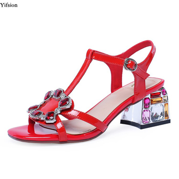 Olomm Women Sandals Square High Heel Sandals Sexy Ankle Strap Open Toe Red Silver White Women Shoes Women US Plus Size 4-10.5