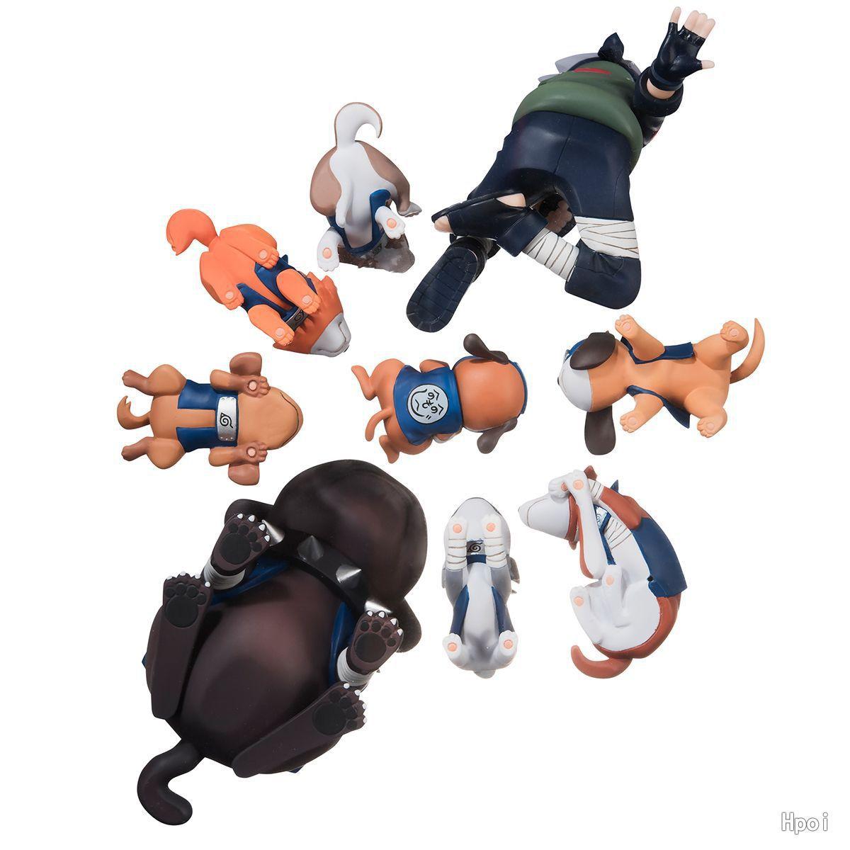 9pcs/set  Anime Naruto Sasuke with Ninja Dog Collection Action Figure Toys