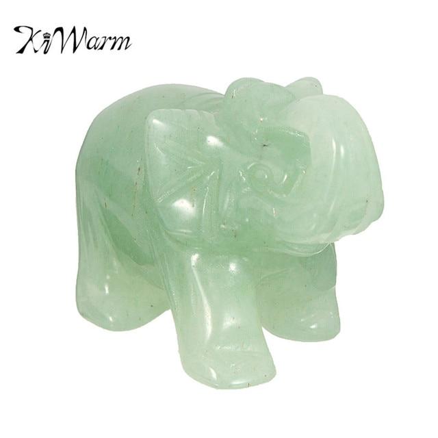 KiWarm Natural Hand Carved Green Aventurine Jade Stone Lucky Crystal Elephant  Stone Chakra Stones Healing Feng