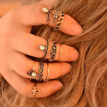 Elegant Baroque Rings For Women Vintage Elephant Moon Joint Knuckle Ring Set Shiny Rhinestone Inlay Ethnic Jewelry 10 pcs(China)