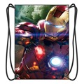 Super Hero Iron Man Drawstring Backpack Boy School Bags Movies Fans Shoes Bag With 2 String