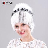 ICYMI Women's Elastic Knitted Hats Real Mink Fur Beanies with Fox Fur Pom Pom handmade Winter Cap Russian Fur Mink Hat for Women
