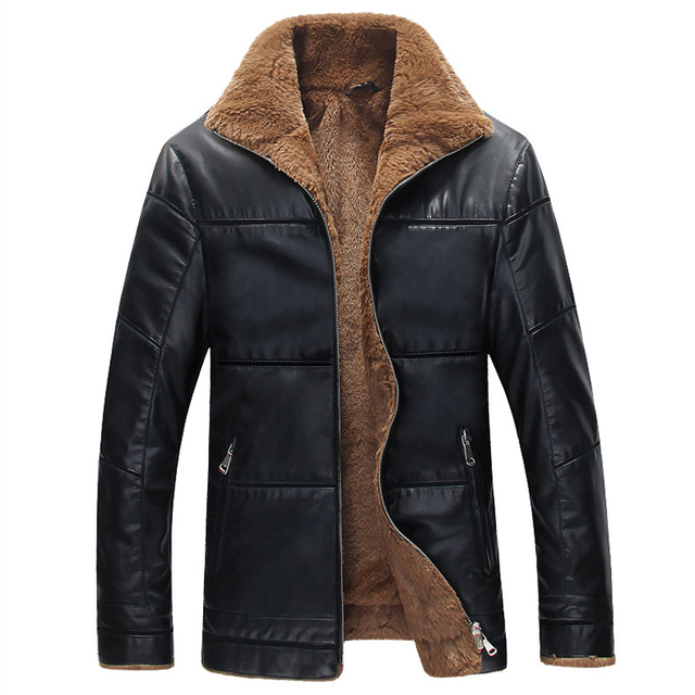 Russian Style Mens Fur Lined Leather Jacket Winter Style Men